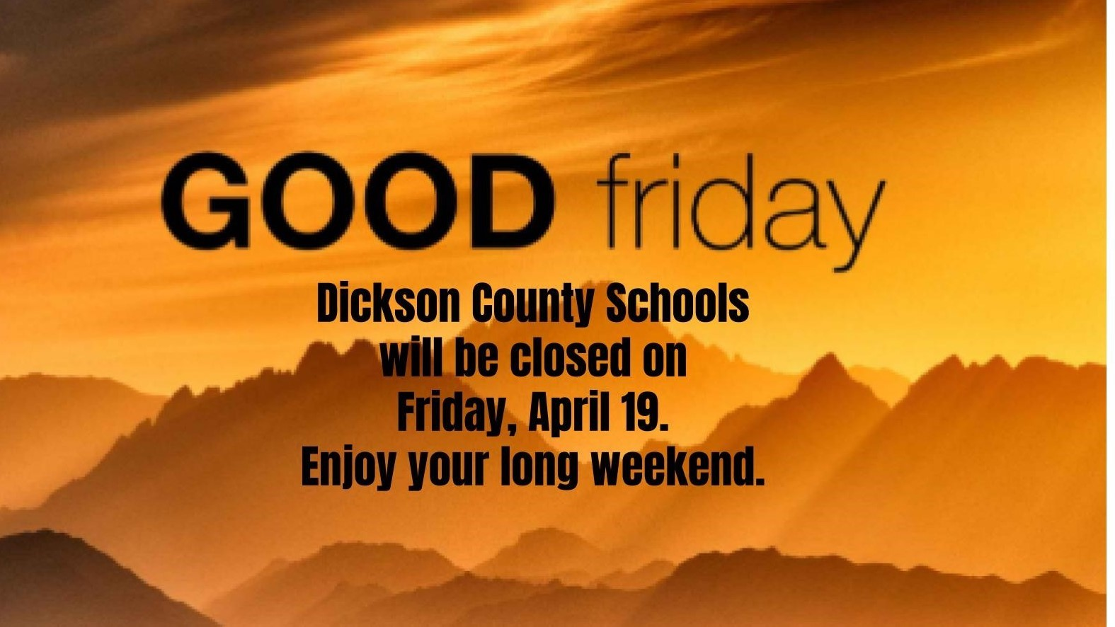 good friday: no school
