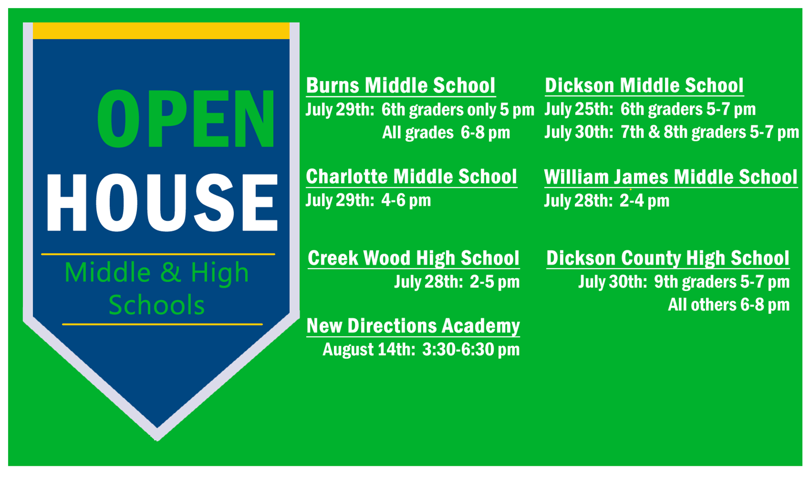 Secondary Open House