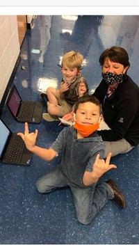 Working with K on their chromebooks