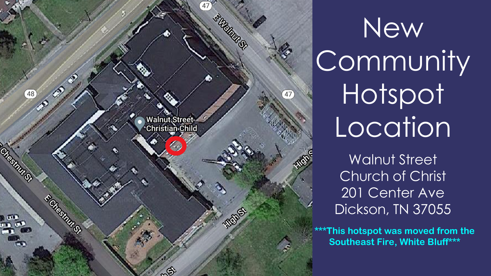 New Community Hotspot Location - Walnut Street Church of Christ