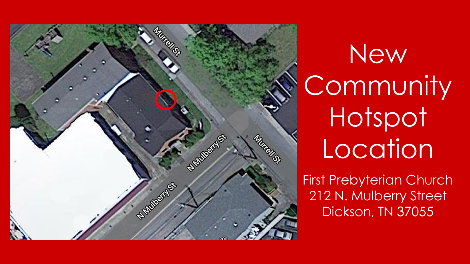 New Community Hotspot Location - First Presbyterian Church