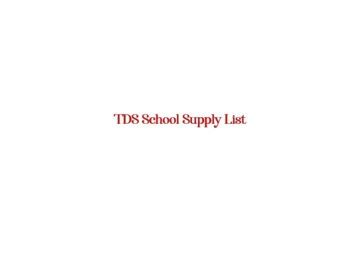 TDS School Supply List