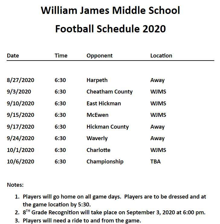 WJMS Football schedule 2020_2021