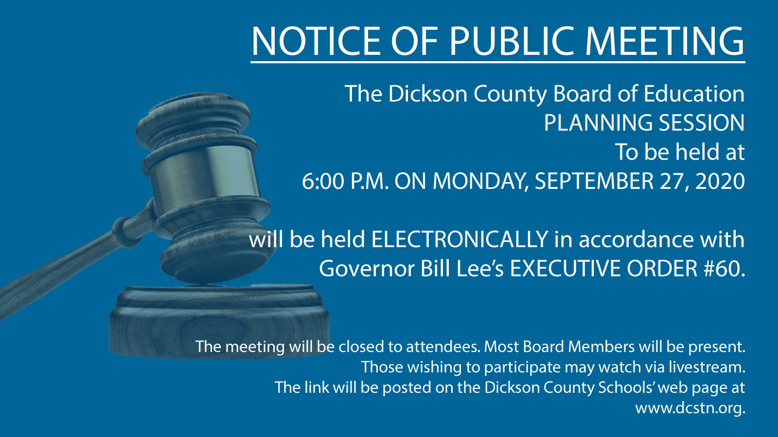 Notice of Planning Session