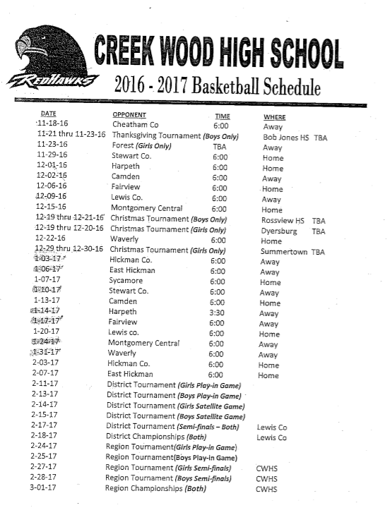 Lady Basketball Schedule